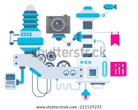 Vector industrial illustration background of the factory for measurement of the parameters camera. Color bright flat design for banner, web, site, advertising, print, poster. - stock vector