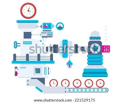 Vector industrial illustration background of the factory for producing clocks. Color bright flat design for banner, web, site, advertising, print, poster. - stock vector