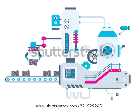 Vector industrial illustration background of the factory for sorting cameras. Color bright flat design for banner, web, site, advertising, print, poster. - stock vector