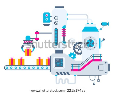 Vector industrial illustration background of the factory for sorting gift boxes with bow. Color bright flat design for banner, web, site, advertising, print, poster. - stock vector