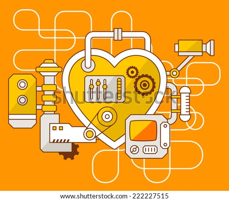 Vector industrial illustration of the mechanism of heart. Yellow color line art and flat design for banner, print, poster, sticker, advertising