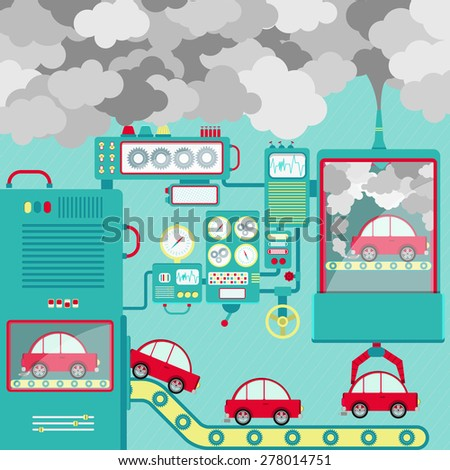 Vector - Industry and traffic pollution. Automobile industry and the pollution released into the atmosphere. Conceptual. - stock vector