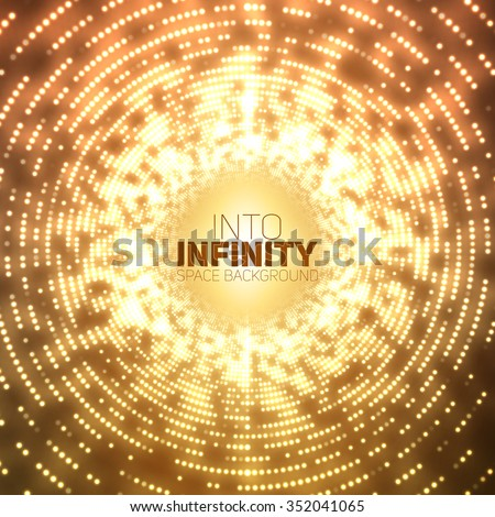 Vector infinite round tunnel of shining flares on orange background. Glowing points form tunnel sectors. Abstract cyber colorful noise background for your designs. Elegant modern geometric wallpaper. - stock vector