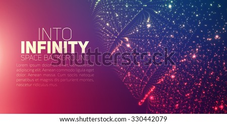 Vector infinite space background. Matrix of glowing stars with illusion of depth and perspective. Abstract futuristic universe on violet background with place for text. Nebula structure lattice. - stock vector