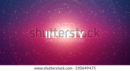 Vector infinite space background. Matrix of glowing stars with illusion of depth and perspective. Sparkling stars of nebula. Abstract futuristic hyperspace universe on dark violet background. - stock vector