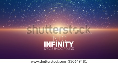 Vector infinite space background. Matrix of glowing stars with illusion of depth and perspective. Abstract cyber fiery sunrise over sea. Abstract futuristic universe on dark violet background. - stock vector