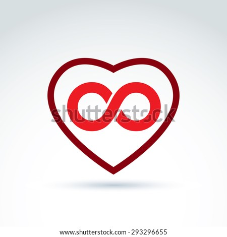 Vector infinity icon, eternal life idea.  Illustration of an eternity symbol placed on a red heart - love forever concept. - stock vector