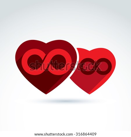 Vector infinity icon. Illustration of an eternity symbol placed on red heart, love forever concept. Two Valentine hearts connected, marriage idea.  - stock vector