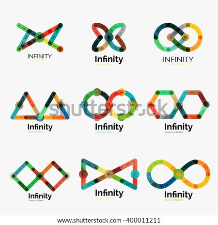 Vector infinity logo set, flat geometric colorful icon design of lines - stock vector