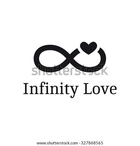 Vector infinity sign with heart logotype. Modern romantic logo - stock vector