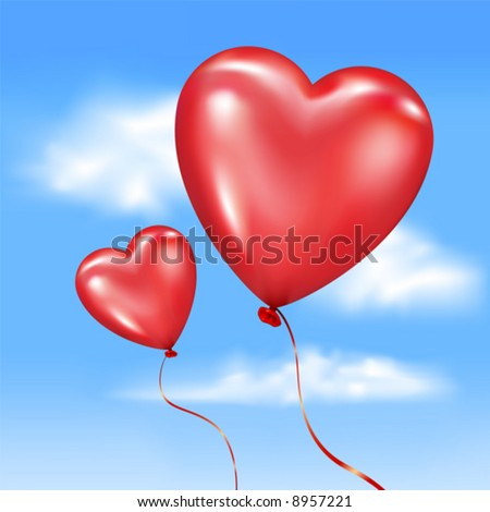 Vector. Inflated heart-shaped balloons in vector sky - stock vector