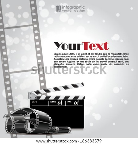 vector info graphic background - movie, film strip - stock vector
