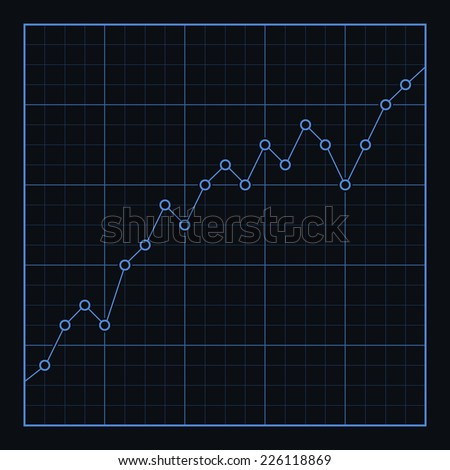 Vector info-graphic line graph template. Isolated on black background, eps 8.