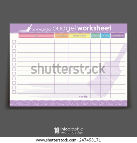 vector info graphic organizer - home project budget worksheet - stock vector