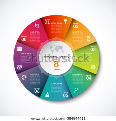 Vector infographic circle template with 8 steps, parts, options, sectors, stages. Can be used for graph, pie chart, workflow layout, cycling diagram, brochure, report, presentation, web design.  - stock vector