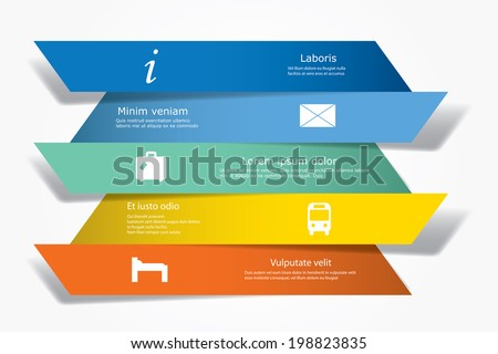 Vector infographic composition with banners and traveling icons. - stock vector