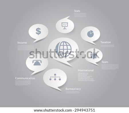 Vector infographic composition with business icons. - stock vector