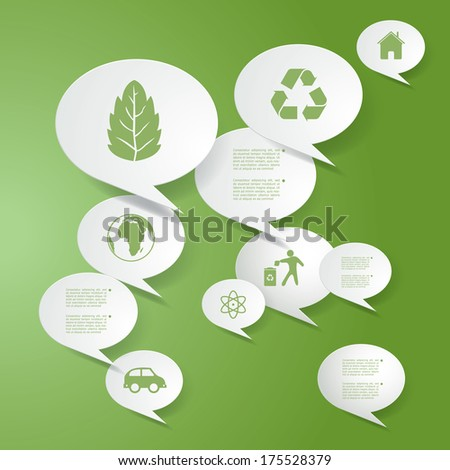 Vector infographic composition with eco icons. - stock vector