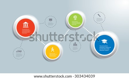 Vector infographic composition with education icons. - stock vector