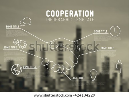 Vector Infographic cooperation report template made from lines and icons with handshake and city skyline - stock vector