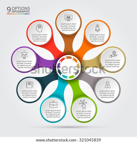 Vector infographic design template. Business concept with 9 options, parts, steps or processes. Can be used for workflow layout, diagram, number options, web design. Data visualization. - stock vector