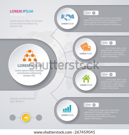 Vector Infographic design white circles with world map on the grey background. Eps 10. Can be used for diagram, banner, number options, workflow layout, step up options or web design. - stock vector