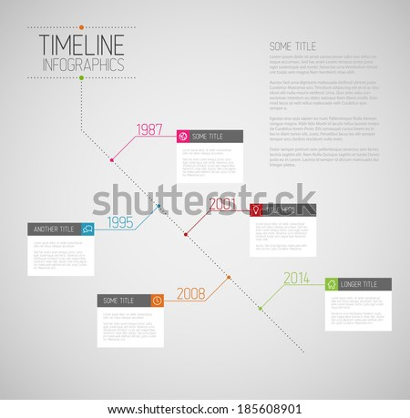 Vector Infographic diagonal timeline report template with icons - stock vector