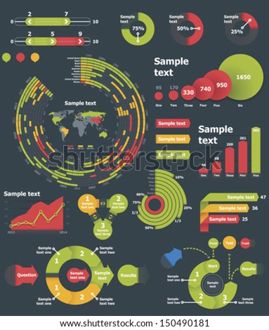 Vector infographic elements  - bar, pie and circle charts, World map - stock vector