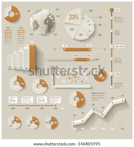 Vector infographic elements. Set of the 3d charts, pie charts and other infographic design elements  - stock vector