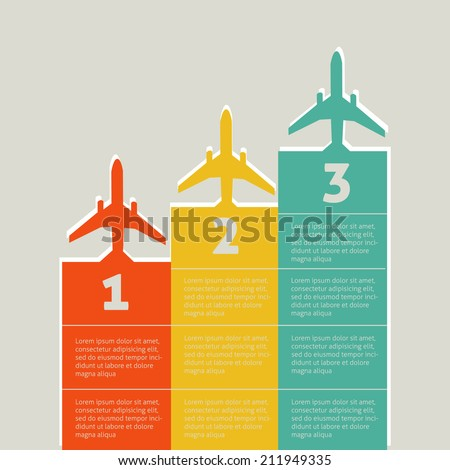 Vector infographic elements with planes - stock vector