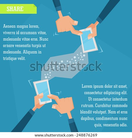 Vector infographic illustration in flat minimal style. People sharing information from their smartphones - stock vector
