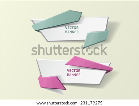 Vector infographic origami banners set. Pastel colors - stock vector