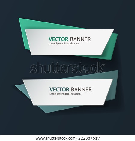Vector infographic origami banners set. Vintage colors - stock vector