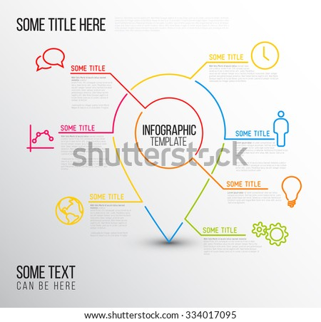 Vector Infographic report template made from lines and icons with location pointer - stock vector