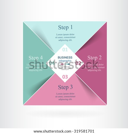 Vector infographic. Square template for diagram, graph, presentation and chart. Business concept with 4 options, parts, steps or processes.  - stock vector