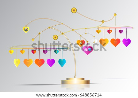 Vector infographic template 3 d heart form stock vector hd royalty vector infographic template 3d with heart form hanging and iconbusiness concept with options ccuart Image collections