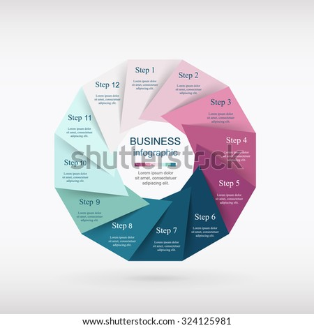 Vector infographic. Template for diagram, graph, presentation and chart. Business concept with 12 options, parts, steps or processes.  - stock vector