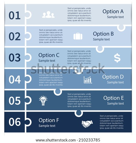 Vector infographic. Template for diagram, graph, presentation and chart. Business concept with six options, parts, steps or processes. Abstract background. - stock vector