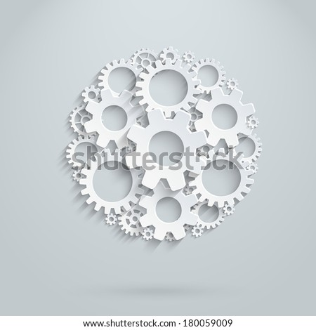 Vector infographic template made of gears. - stock vector