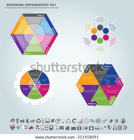 Vector infographic template (regular pentagon): Infographic, infochart , diagram & flowchart design for presentation & business (Part 51) - stock vector
