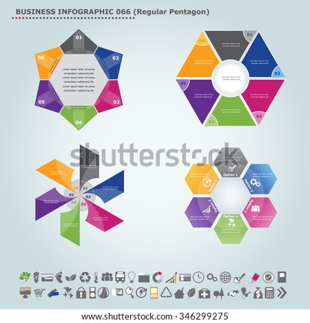 Vector infographic template (regular pentagon): Infographic, infochart , diagram & flowchart design for presentation & business (Part 66) - stock vector