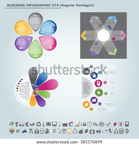 Vector infographic template (regular pentagon): Infographic, infochart , diagram & flowchart design for presentation & business (Part 74) - stock vector