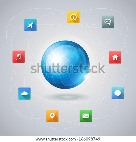 Vector infographic template with blue globe and long shadow icons. Elements are layered separately in vector file.