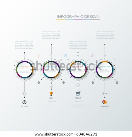 Vector infographic template with 3D paper label, integrated circles. Business concept with options. For content, diagram, flow chart, steps, parts, timeline infographics, work flow, process