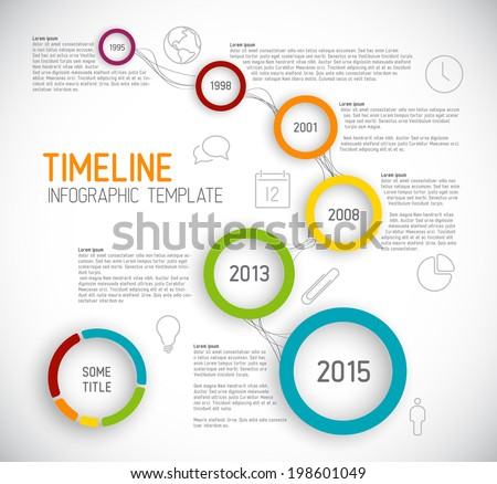Vector Infographic timeline report template with icons - stock vector