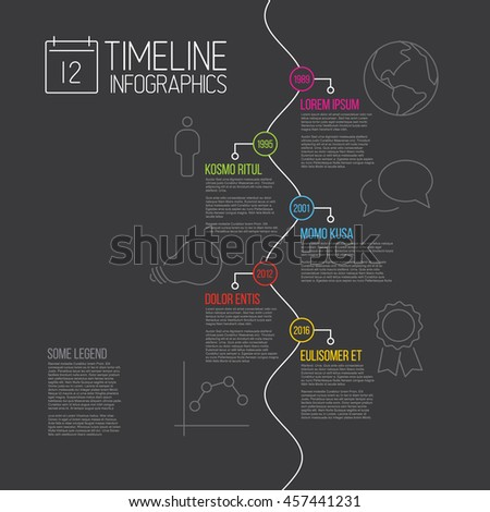 Vector Infographic timeline report template with the biggest milestones, icons, years and description - dark version - stock vector