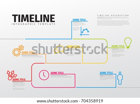 Vector Infographic timeline template with icons made from thin line
