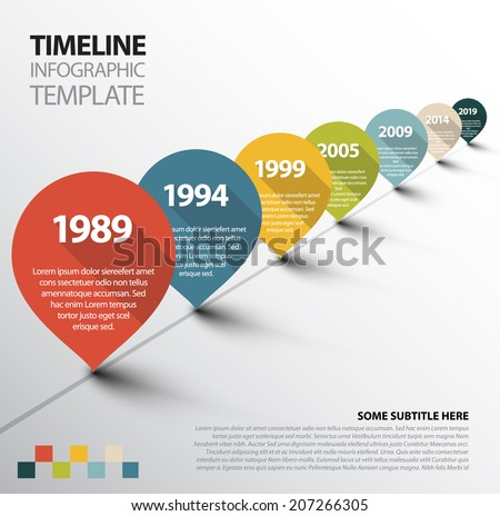 Vector Infographic Timeline Template with retro pointers - stock vector