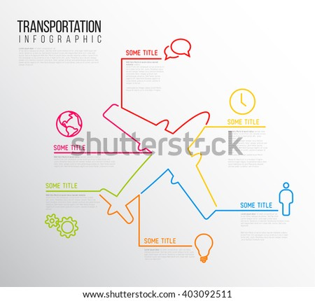 Vector Infographic transport report template made from lines and icons with airplane  - stock vector