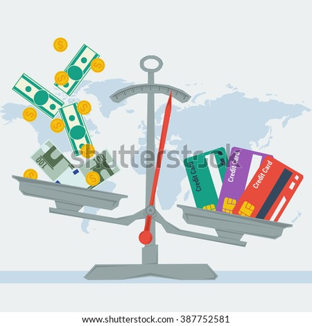 Vector infographic value of credit card. Scales with different banknotes and coins and three credit cards. Flat style concept illustration. Web infographics - stock vector